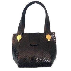 Black & Gold Snakeskin Structured Small Handbag